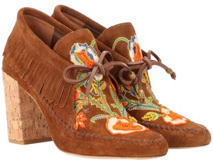 Tory Burch Beaded Embroidered Fringe Brown Boots