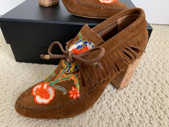 Tory Burch Beaded Embroidered Fringe Brown Boots Image 10