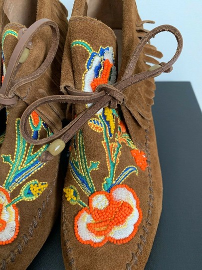 Tory Burch Beaded Embroidered Fringe Brown Boots Image 11