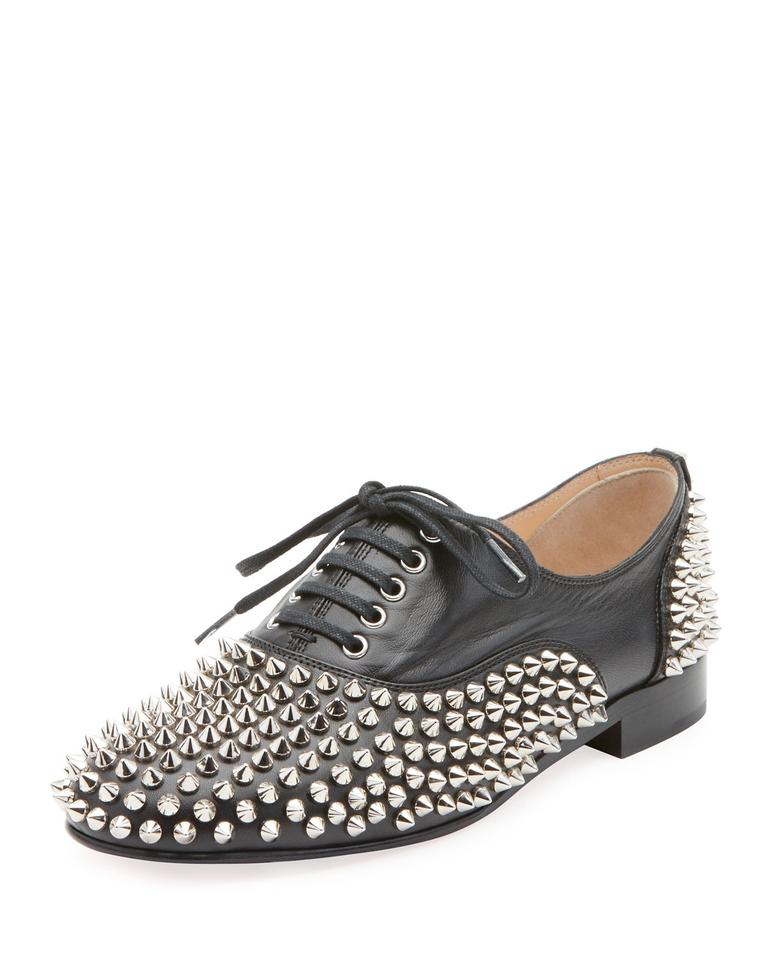new style ad05f 5d12a Christian Louboutin Black Freddy Spikes Studded Red Sole Saddle Oxford  Flats Size EU 38 (Approx. US 8) Regular (M, B) 47% off retail