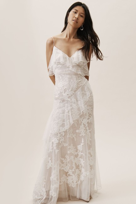 Item - Ivory Nude Lace Bhldn Raleigh Feminine Wedding Dress Size 14 (L)
