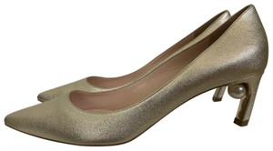 Nicholas Kirkwood Leather Pearl Pointed Toe Gold Pumps