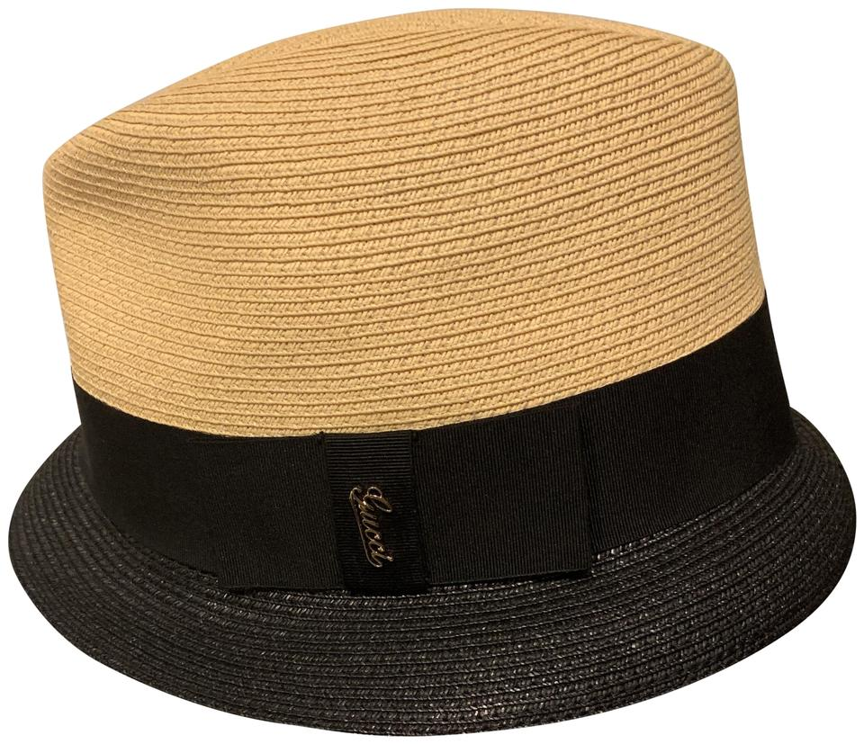 timeless design 066d4 adf8e Gucci Tan and Black Cappello Donna Paiper Poly/Pa Hat 59% off retail