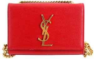 Saint Laurent Grain De Poudre Small Monogram Satchel in Red