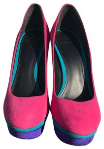 Brian Atwood pink, purple, yellow Platforms