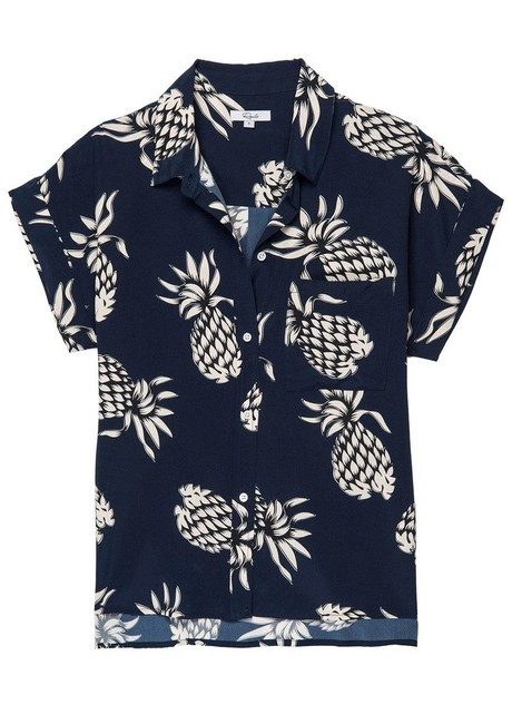 Item - Navy Whitney Button Up In Ananas Button-down Top Size 0 (XS)