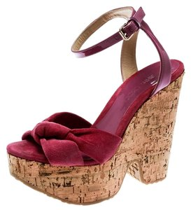 Jimmy Choo Patent Leather Suede Wedge Pink Sandals