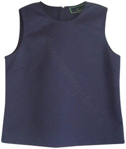 C. Wonder Crew Neck Piping Neck/Armholes Sleeveless Straight Hem Satin Fabric Top Navy