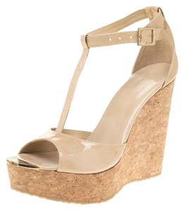 Jimmy Choo Patent Leather Wedge Leather Beige Sandals