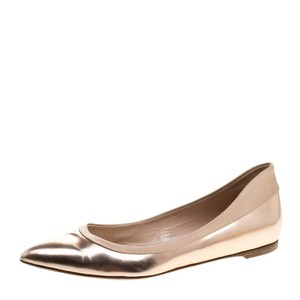 Gianvito Rossi Metallic Pointed Toe Leather Satin Ballet Gold Flats