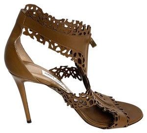Jimmy Choo Leather Lace Cut Out Italy Italian Brown Sandals