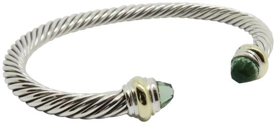 Preload https://img-static.tradesy.com/item/25948790/david-yurman-sterling-silver-and-prasiolte-5mm-cable-with-gold-trim-large-size-bracelet-0-1-540-540.jpg