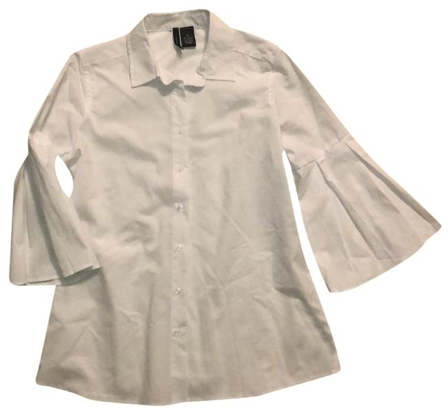 Item - White Bell Sleeves Button-down Top Size 6 (S)