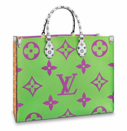Preload https://img-static.tradesy.com/item/25948908/louis-vuitton-onthego-lilac-purple-pink-orange-giant-logo-handle-tote-green-canvas-shoulder-bag-0-0-540-540.jpg