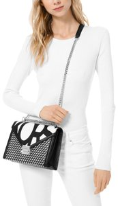 Michael Kors Whitney Large Graphic Logo Convertible Smooth Leather Black/White Shoulder Bag