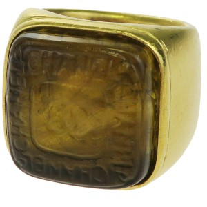 Chanel Gold Cc Logo Plastic Gold-tone # 6.0 France Ring