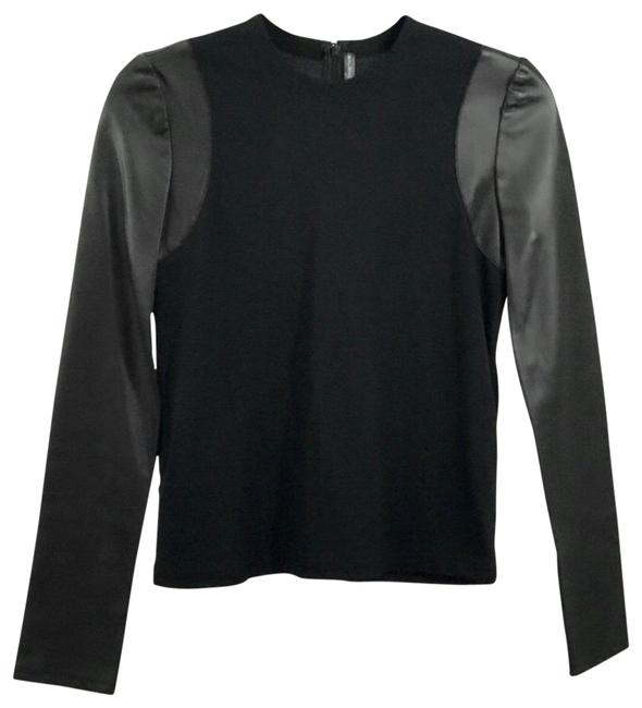 Item - Long Sleeve Leather Black Top
