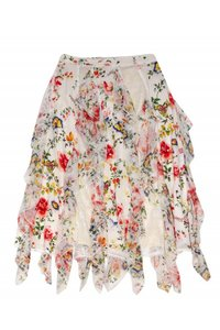 Alice & Olivia White Floral Mini Skirt Cream