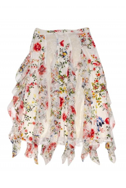 Alice & Olivia White Floral Mini Skirt Cream Image 1