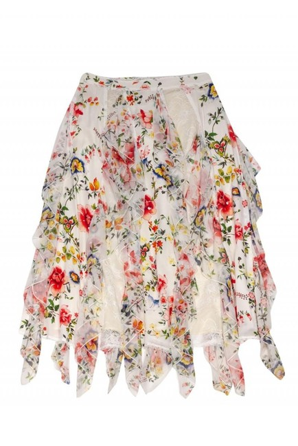 Alice & Olivia White Floral Mini Skirt Cream Image 2
