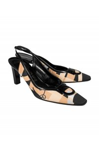 Ferragamo Slingback Black tan Pumps