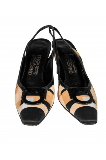 Ferragamo Slingback Black tan Pumps Image 1