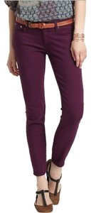 AG Adriano Goldschmied Straight Pants Burgundy Maroon Plum