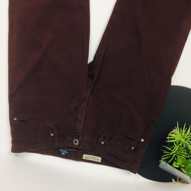 AG Adriano Goldschmied Straight Pants Burgundy Maroon Plum Image 2