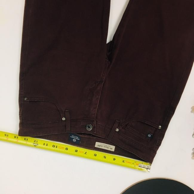 AG Adriano Goldschmied Straight Pants Burgundy Maroon Plum Image 3