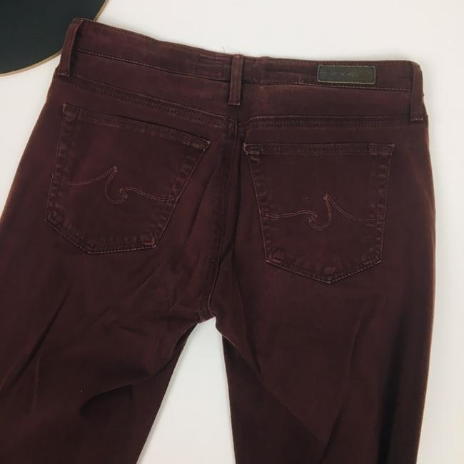 AG Adriano Goldschmied Straight Pants Burgundy Maroon Plum Image 5