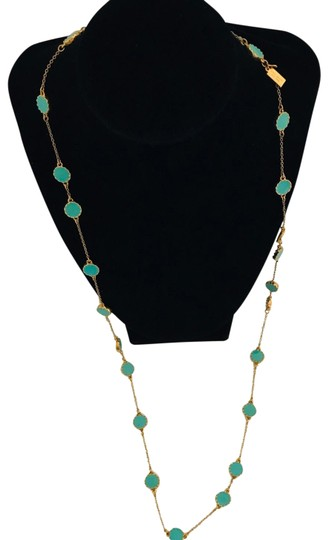 Kate Spade Kate Spade Gold Turquoise Long Necklace Image 1