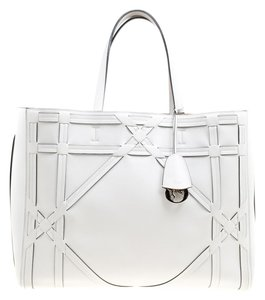Dior Leather Suede Detail Silver Hardware Tote in White