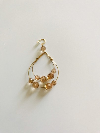 Other Gold tone and amber color drop earrings Image 4