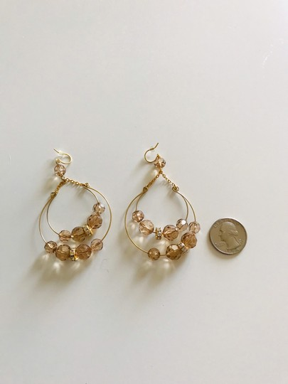 Other Gold tone and amber color drop earrings Image 1