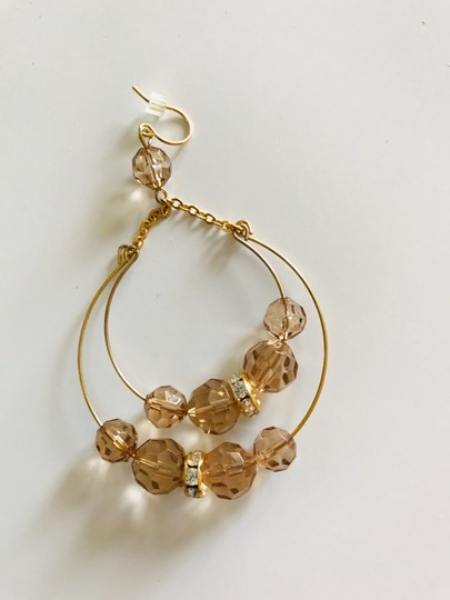 Other Gold tone and amber color drop earrings Image 2