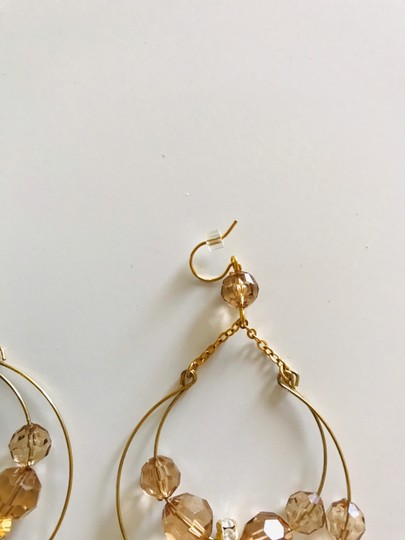Other Gold tone and amber color drop earrings Image 3