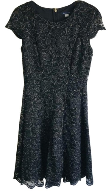 Item - Black Shine Lace Fit And Mid-length Cocktail Dress Size 2 (XS)