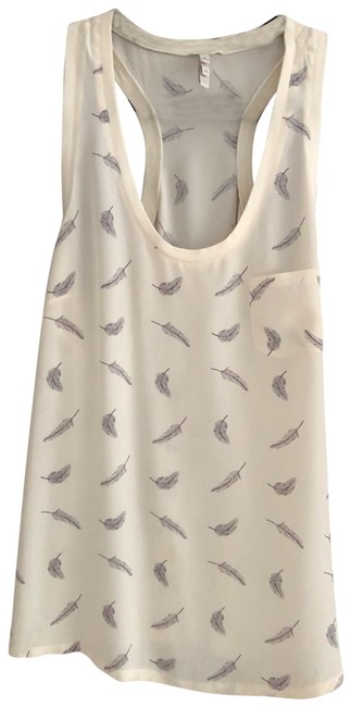 Item - Cream and Gray Iconic Silk Racer Back with Feathers Tank Top/Cami Size 8 (M)