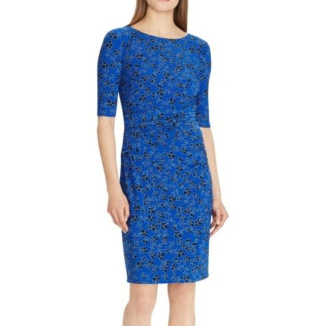 Item - Blue Jersey Floral Print Ruched Mid-length Cocktail Dress Size 2 (XS)