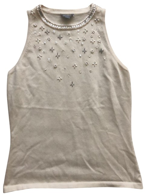 Preload https://img-static.tradesy.com/item/25950863/ann-taylor-ivory-pearl-and-sequined-silk-sleeveless-tank-topcami-size-4-s-0-1-650-650.jpg