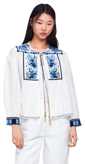 Preload https://img-static.tradesy.com/item/25950870/zara-blue-and-white-embroidered-jacket-blouse-size-2-xs-0-4-650-650.jpg