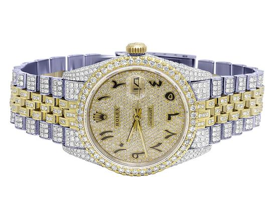 Rolex 18K/ Steel Datejust 36MM Arabic Pave Dial Diamond 13.0 Ct Image 1