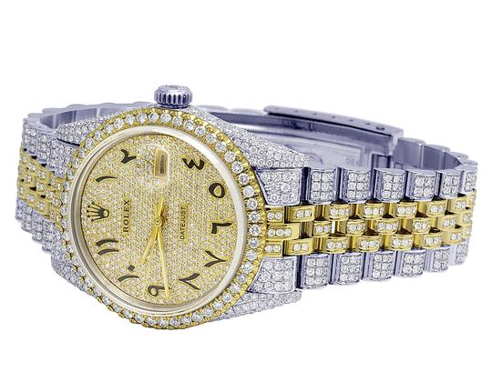 Rolex 18K/ Steel Datejust 36MM Arabic Pave Dial Diamond 13.0 Ct Image 2