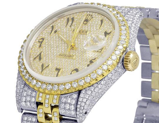 Rolex 18K/ Steel Datejust 36MM Arabic Pave Dial Diamond 13.0 Ct Image 3