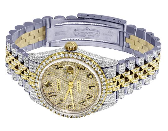 Rolex 18K/ Steel Datejust 36MM Arabic Pave Dial Diamond 13.0 Ct Image 7