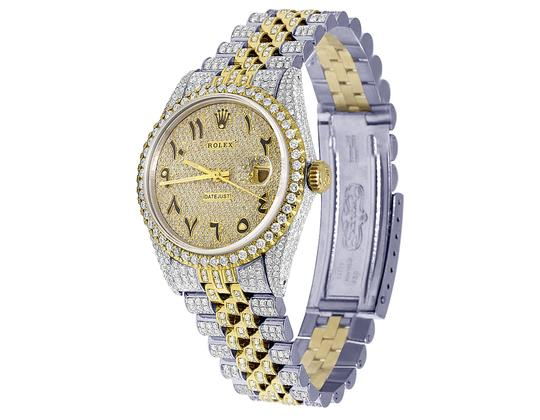 Rolex 18K/ Steel Datejust 36MM Arabic Pave Dial Diamond 13.0 Ct Image 8