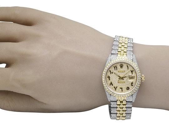 Rolex 18K/ Steel Datejust 36MM Arabic Pave Dial Diamond 13.0 Ct Image 9