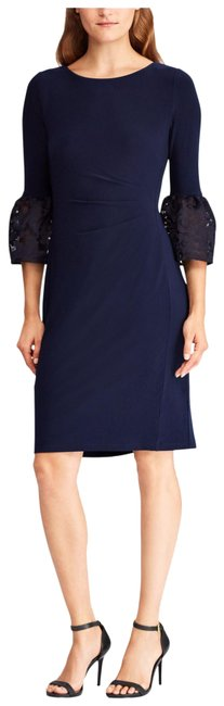 Item - Navy Blue Konetta Mesh Bell Sleeve Sheath Mid-length Cocktail Dress Size 8 (M)