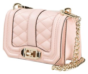 Rebecca Minkoff Leather Clutch Chain Quilted Cross Body Bag