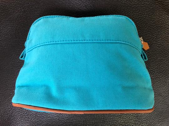 Hermes Pouch Clutch Bolide Leather Blue Travel Bag Image 1